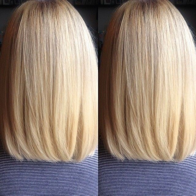 Back View of Straight Long Bob Haircut - Blunt Cut with Subtle Layering Added at the Edges