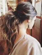 Big Messy Ponytail Hairstyle - Half up half down ponytail