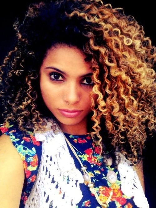 Black Blonde Hairstyle for Natural Curly Hair