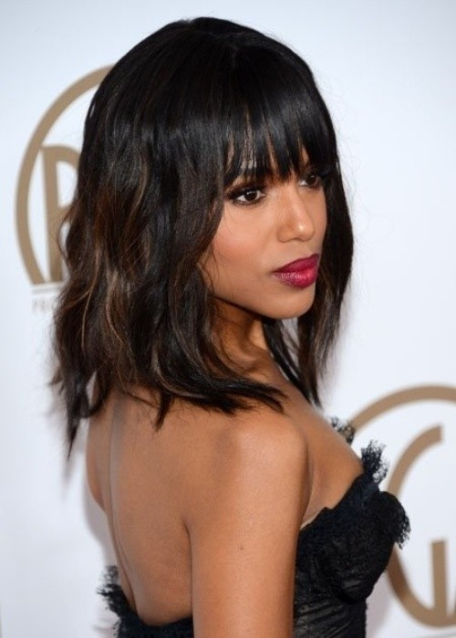 Black Medium Hairstyles with Blunt Bangs