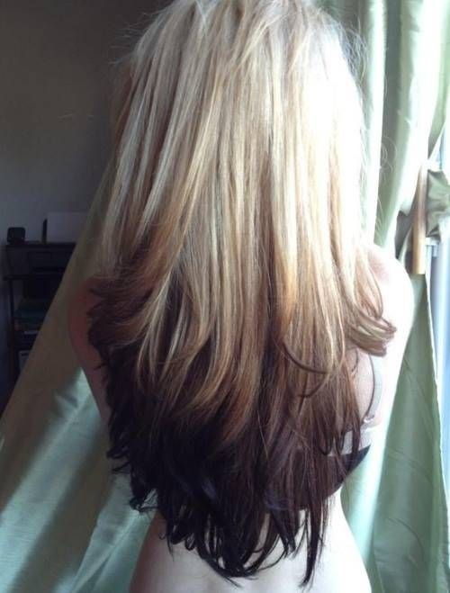 Blonde to Black Reverse Ombre - Cute Long Hairstyles