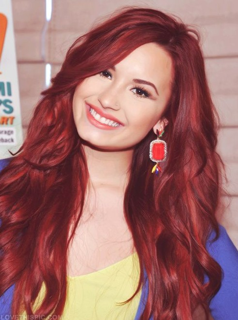 Demi Lovato Red Hair: Long Hairstyles