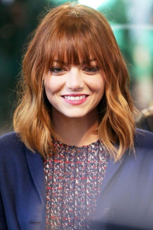 Emma Stone Medium Hairstyle with Blunt Bangs - Women Medium Haircut Ideas