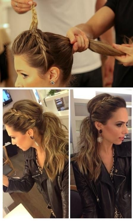Fashionable Ponytail Hairstyle with Side Braid