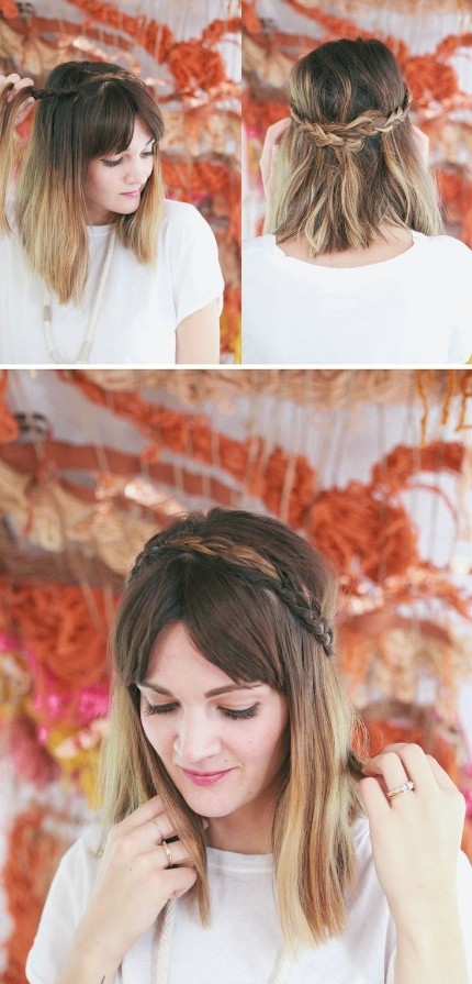 Half Up Braided Crown -Easy Medium Hairstyle Tutorial
