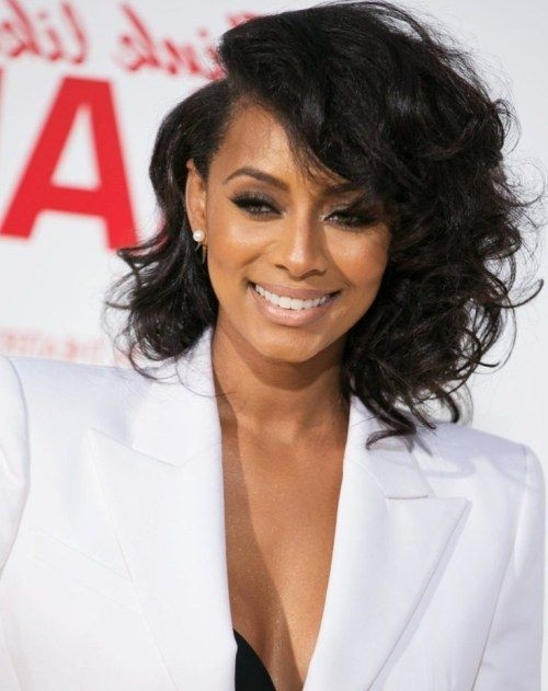 Keri Hilson Asymmetrical Hair Style - Medium Curls