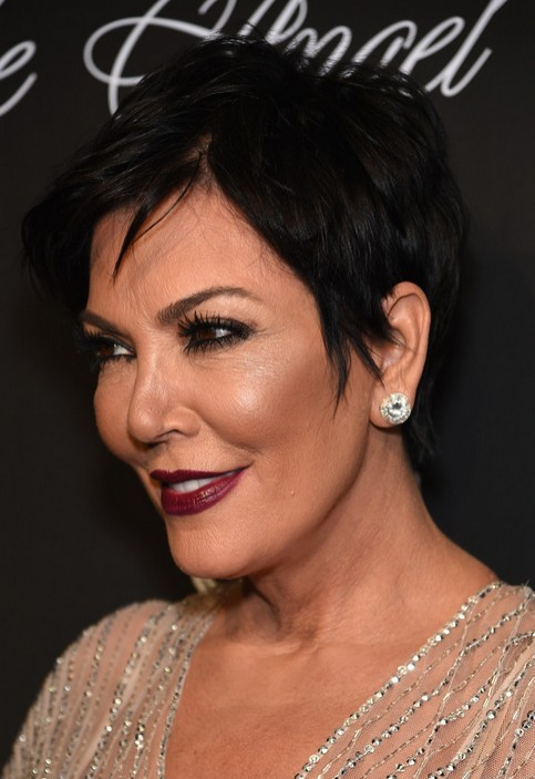 Kris Jenner Black Short Pixie Haircut with Side Bangs - Short Hairstyles for Women Over 50