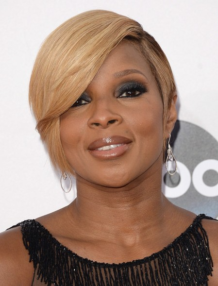 Mary J. Blige Blonde Short Hairstyle with Side Bangs - Black Women Short Haircut Ideas