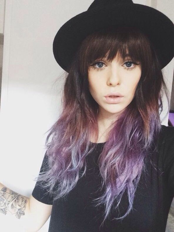 Ombre Long Hairstyles with Short Bangs
