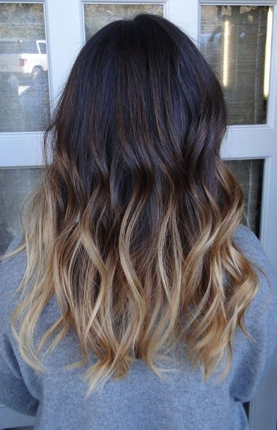 Ombre Hair Brown To Caramel To Blonde Medium Length 18 Shoulder Len...