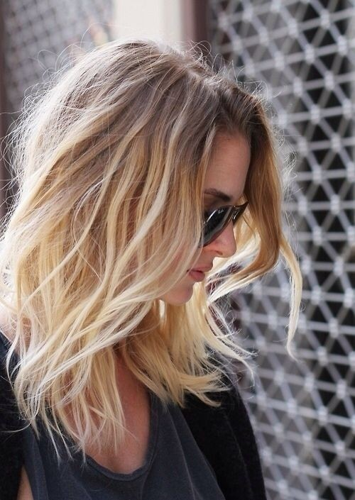Pretty Ombre Hairstyle for Fine Hair - Messy Medium Length Haircuts 2015