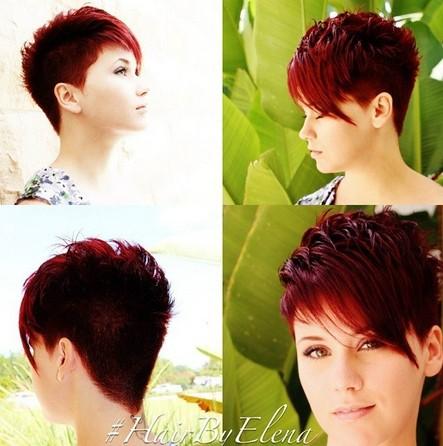 Red Asymmetrical Short Haircut with Bangs