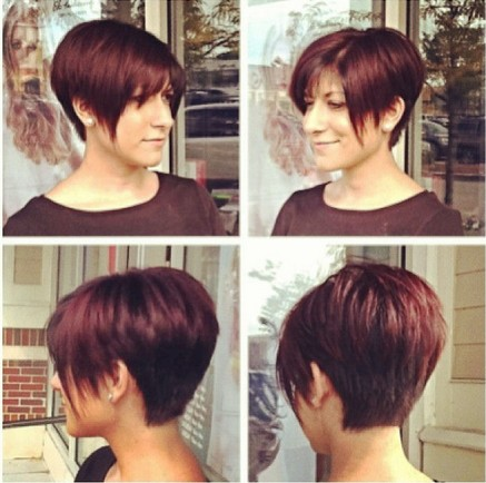 Red Long Pixie Cut