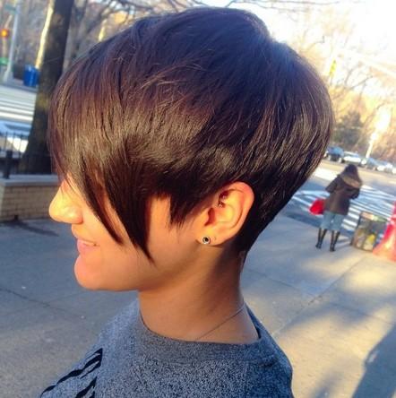 Short Hairstyle with Long Bangs - Women Short Haircut