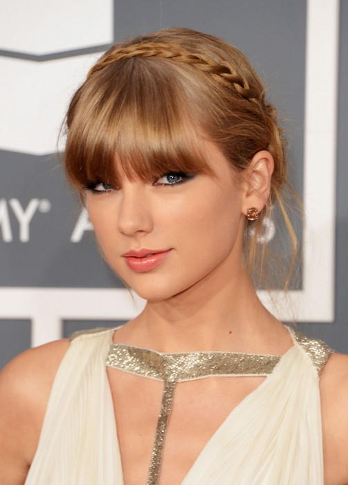 Taylor Swift Cute Braided Updo With Blunt Bangs
