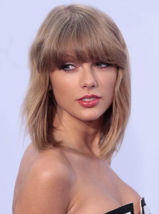 Taylor Swift Medium Hair Style - Straight Medium Haircuts with Bangs