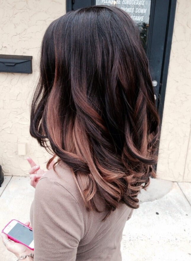 Black Hair with Rose Gold Highlights Hairstyles: Ombre Long Hair