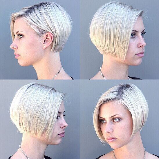 Blunt Layered Bob Haircut with Blonde Hair