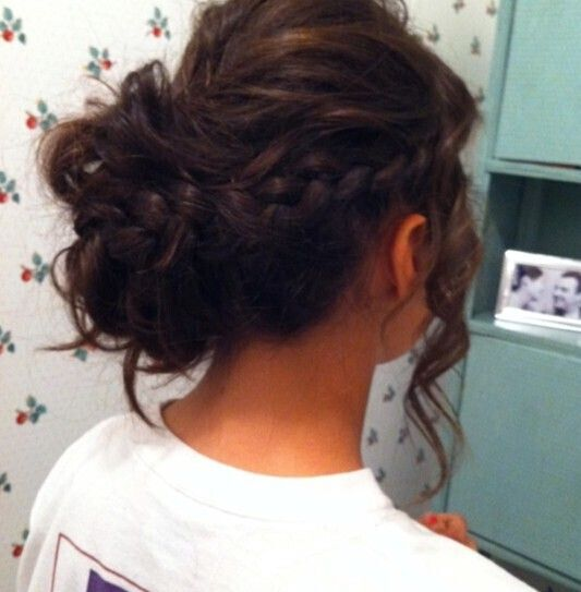 Braided Slightly Messy Updos: Updo hairstyle for wedding formal dance date night