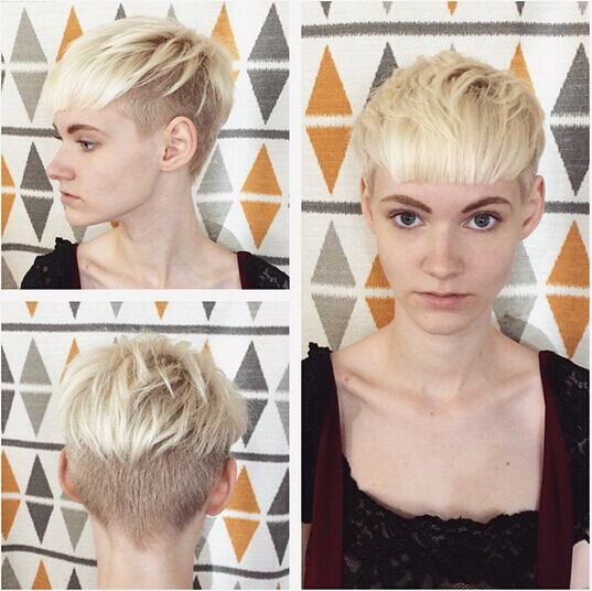 Casual Blonde Short Hair Styles with Blunt Bangs
