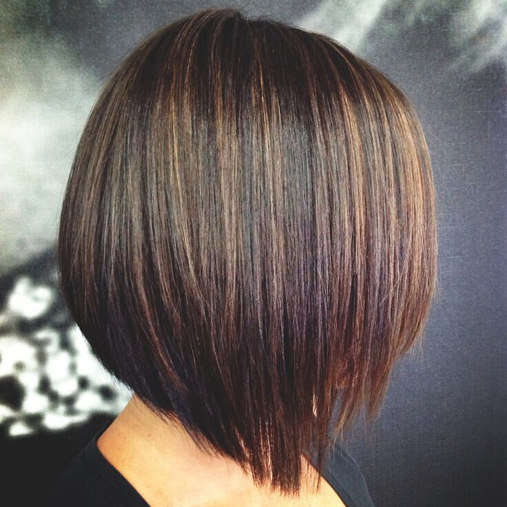 espresso brown base with caramel highlights with bob hairstyles