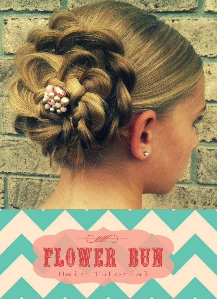 Flower Bun Updo Tutorial: Cute, fast, and easy hairdo!