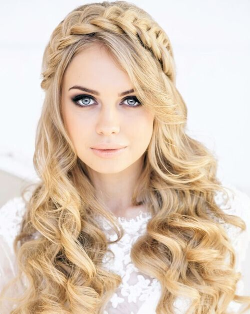 Long Wavy Hairstyles with Braid - Cute and Modern Prom Hairstyle Ideas