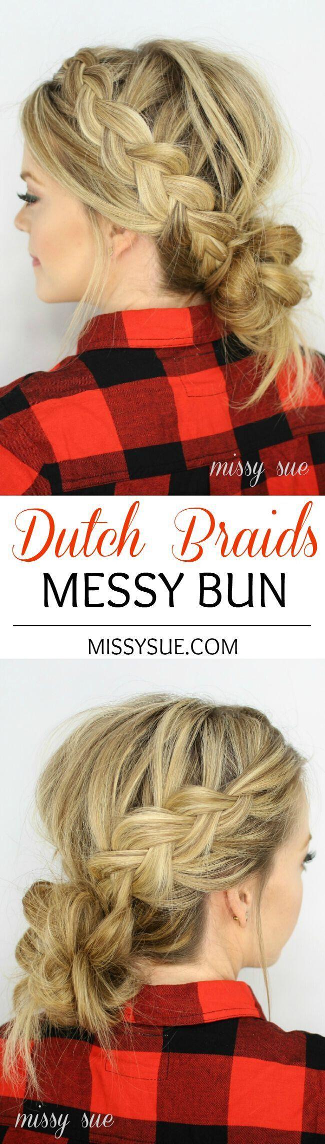 Loose Dutch Braids Messy Bun Updos