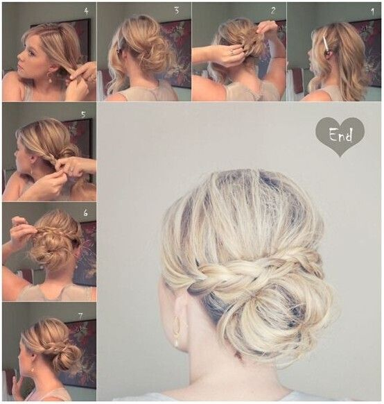 18 quick and simple updo hairstyles for medium hair popular haircuts messy braid bun for medium hair updo hairstyle tutorials pmusecretfo Choice Image
