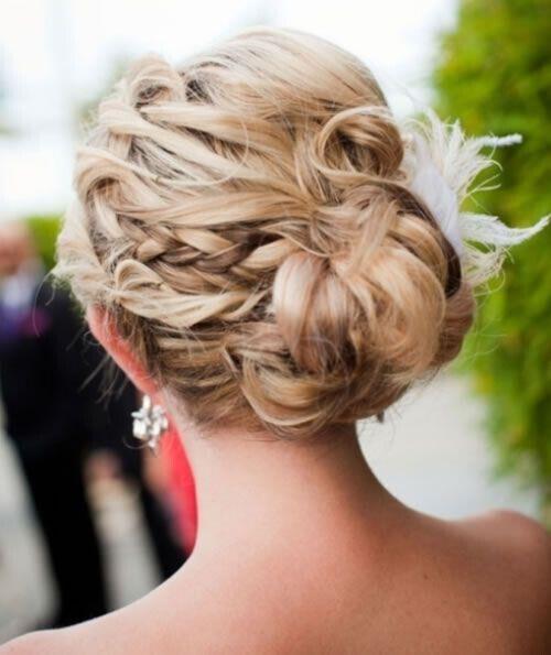 Messy Braided Bun Updos: Cute Prom Wedding Hairstyle