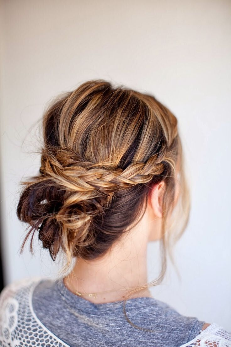 Messy Braid Bun Easy Updo Hairstyle For Medium Hair