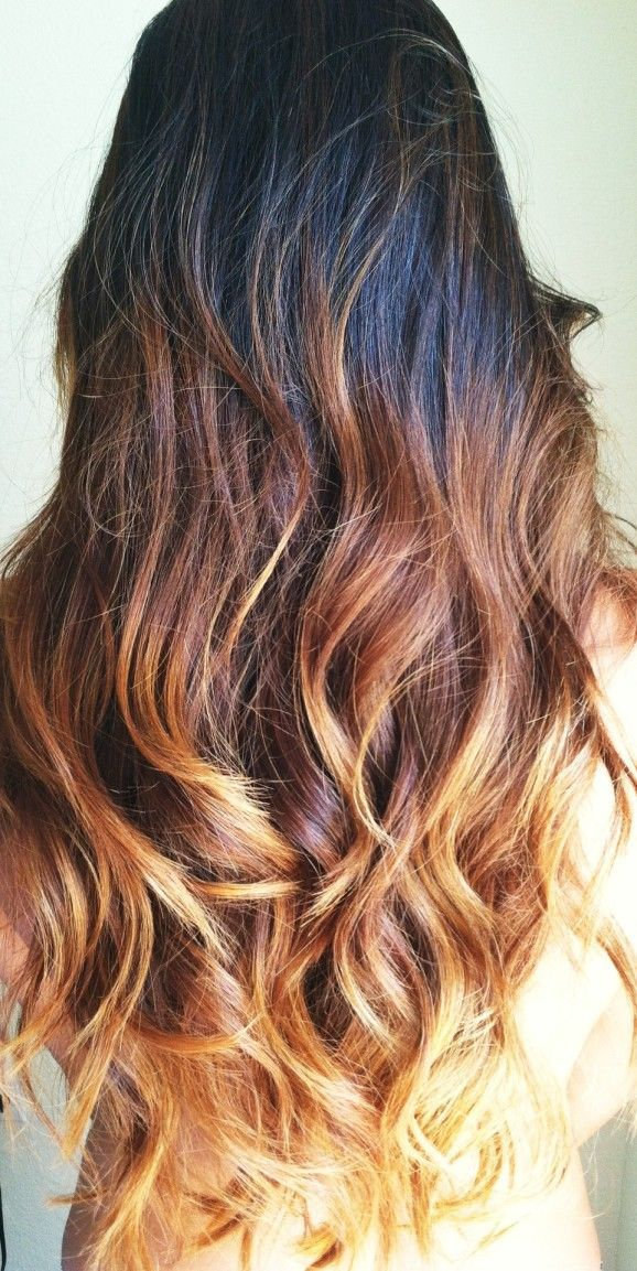 Pretty Brown Flame: Black to amber blonde ombre hair