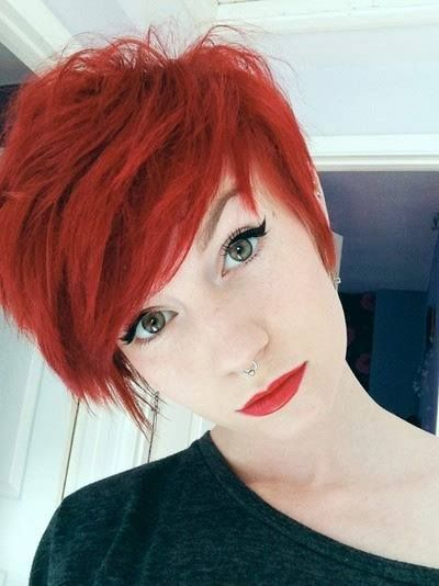 Pretty Red Short Haircut for Girls