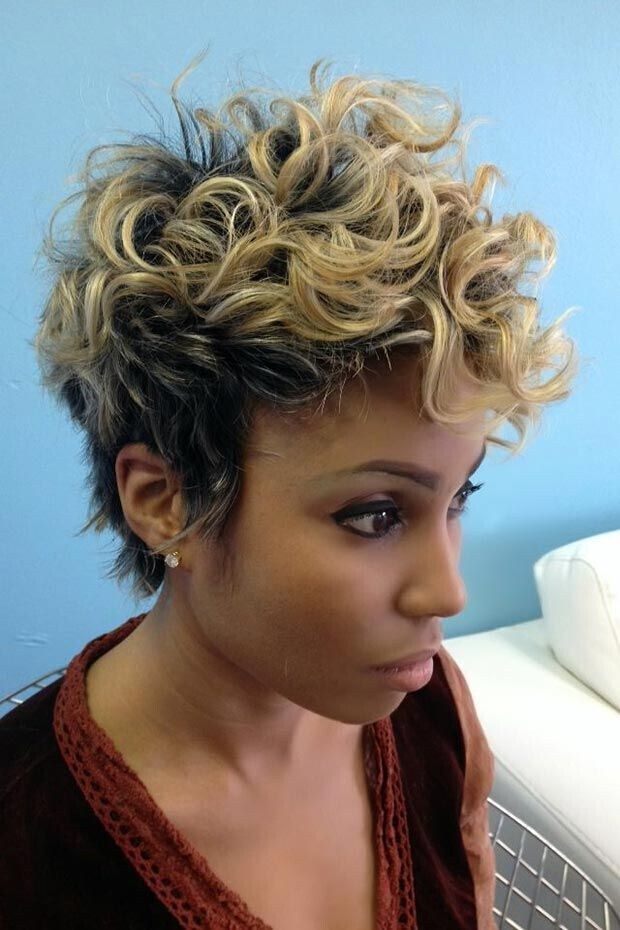 Short Curly Blonde Hairstyle for Black Women: Blonde with Black Hair