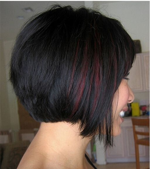 short hairstyles without bangs : Short Hairstyles with Highlights: Red with Black Hair / Via