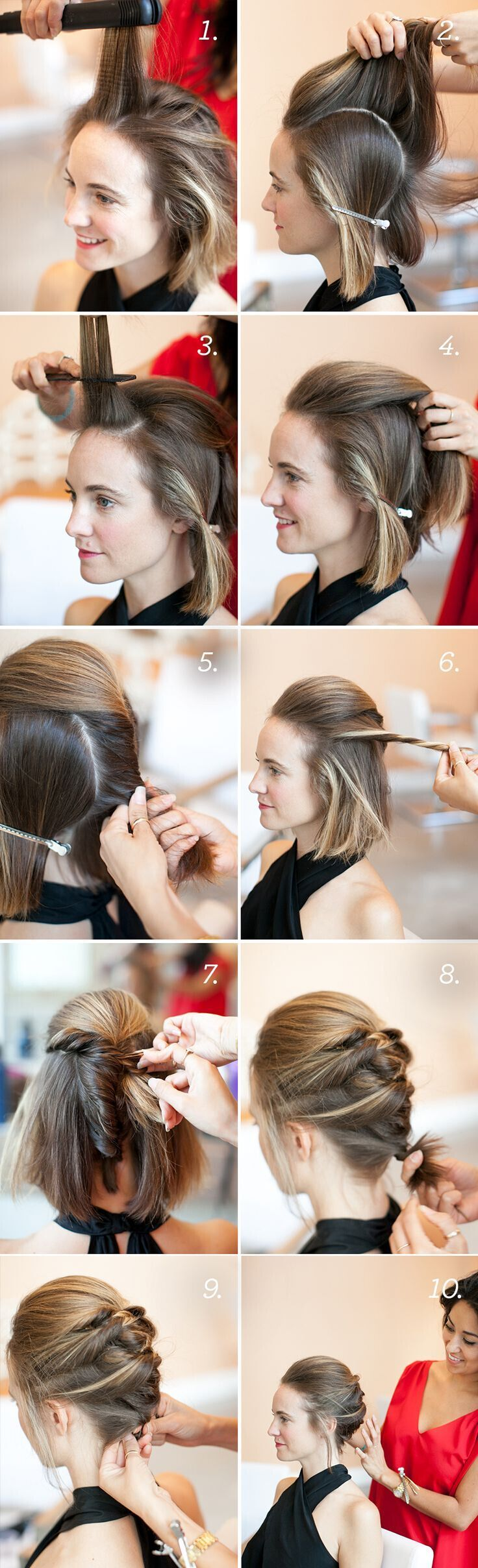 Textured French Twist Hairstyles: Cute Braid Updo for short hair