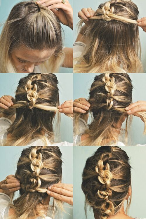 The Knot Hawk. Or a knotted french braid. Hight five for a messy updo for medium length hair