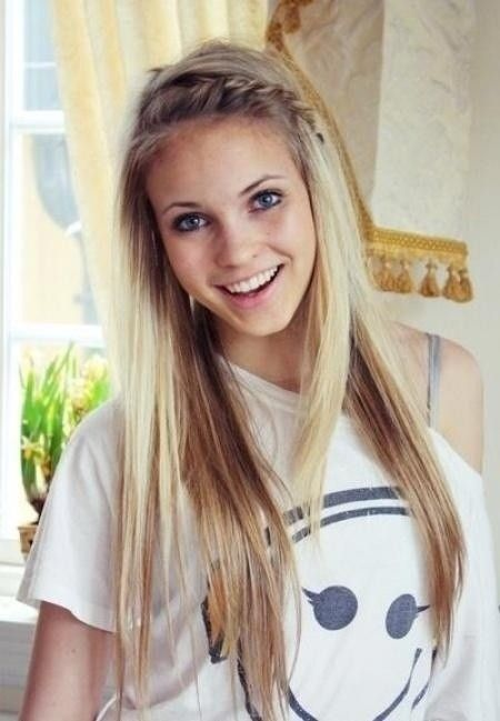 Cute School Hairstyle   Long Hair With Braid Bangs