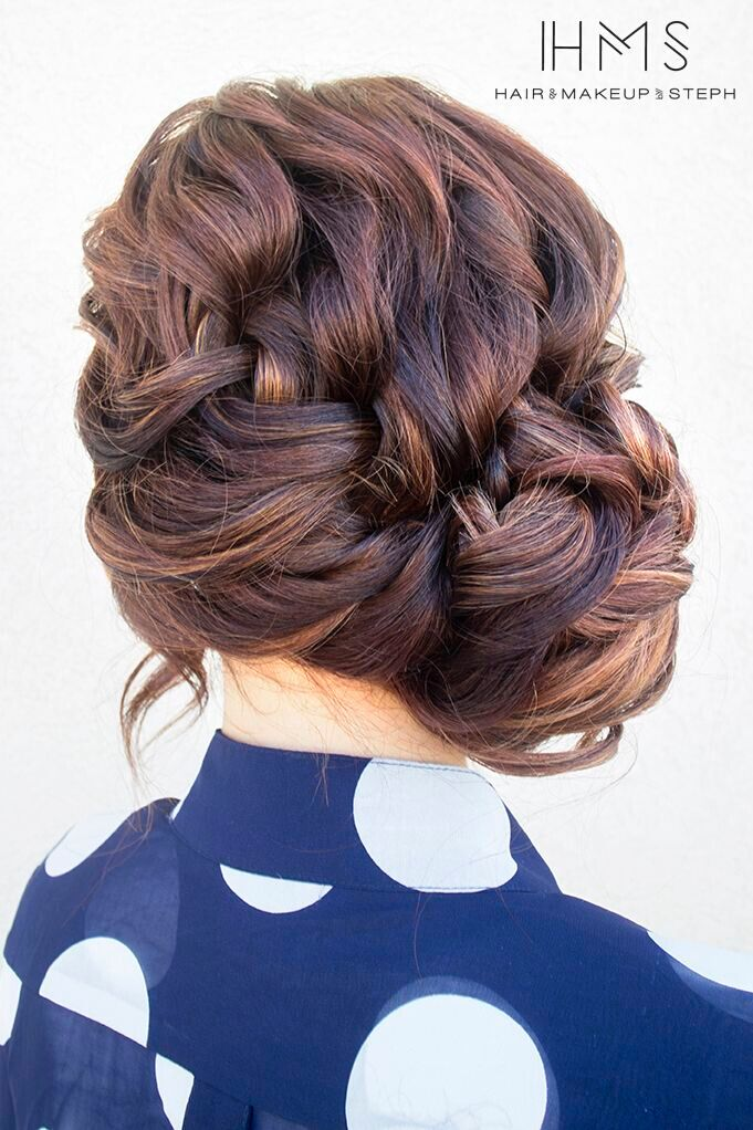 French, Loose Braid Updo Hairstyle