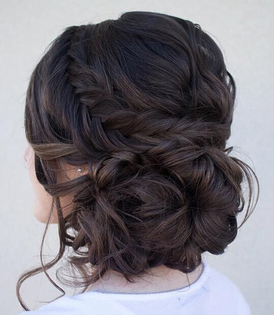 Loose Side Bun Updos with Fishtail Braid