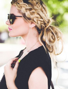 Messy, Chic Fishtail Braid Updo - Holiday Hairstyle Ideas