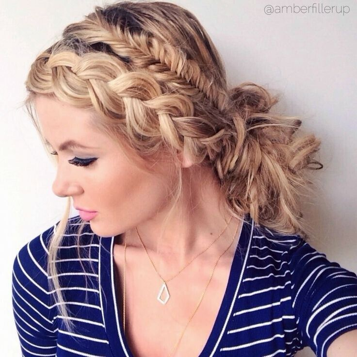 Messy Fishtail Braid Updo Hairstyles - Holiday Hairstyle Ideas for Long Hair