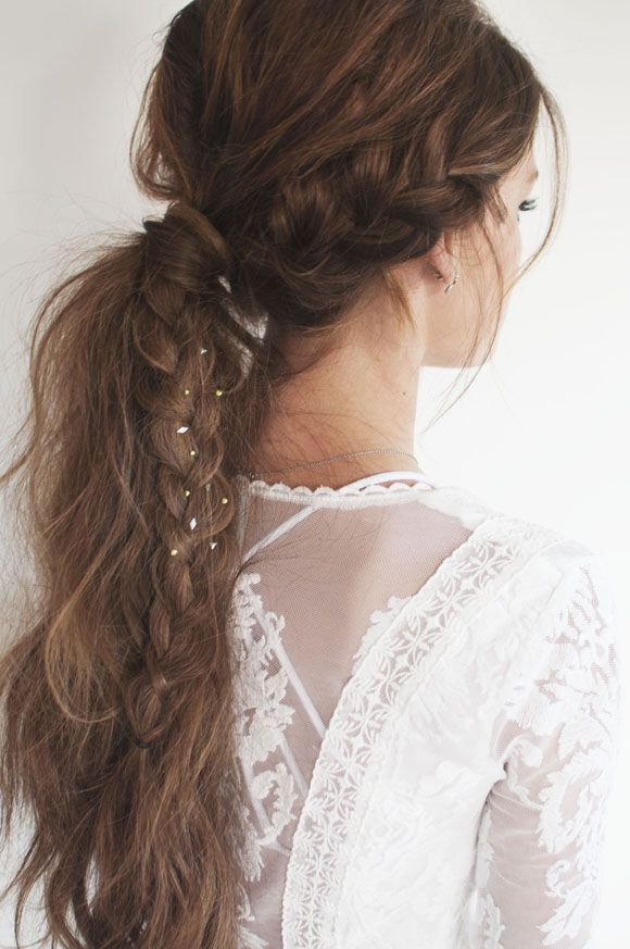 Hairstyles For Long Hair School : Ponytail Hairstyle with Braid: School Hair Styles for Long Hair / Via