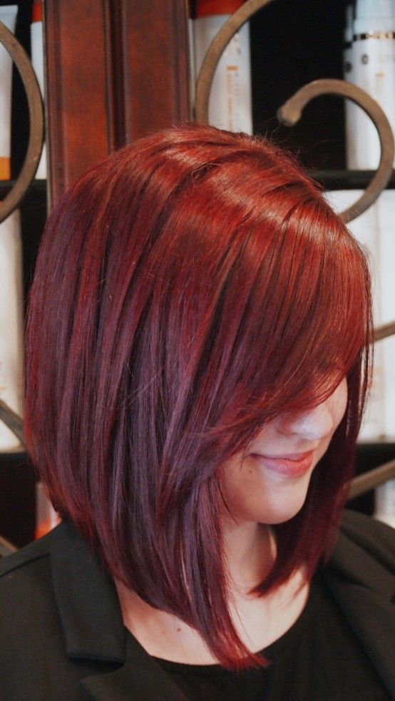 Red A-line Long Bob Hair Cut