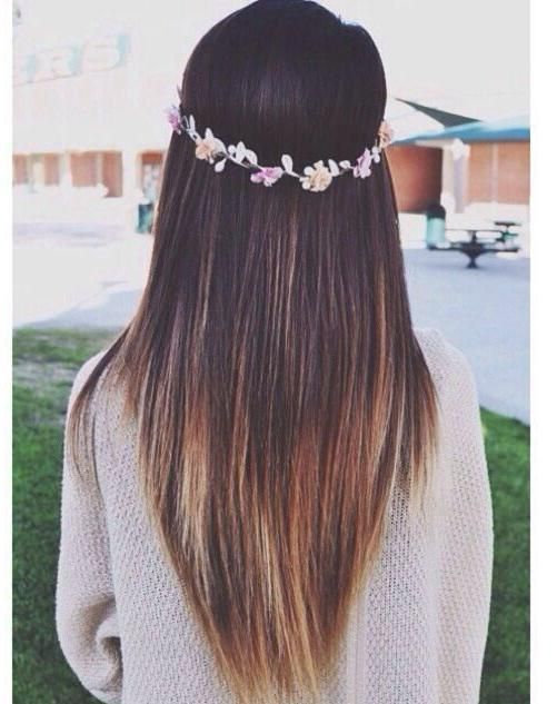 Straight V-shape hair for long hair, faded brown to blonde ombre