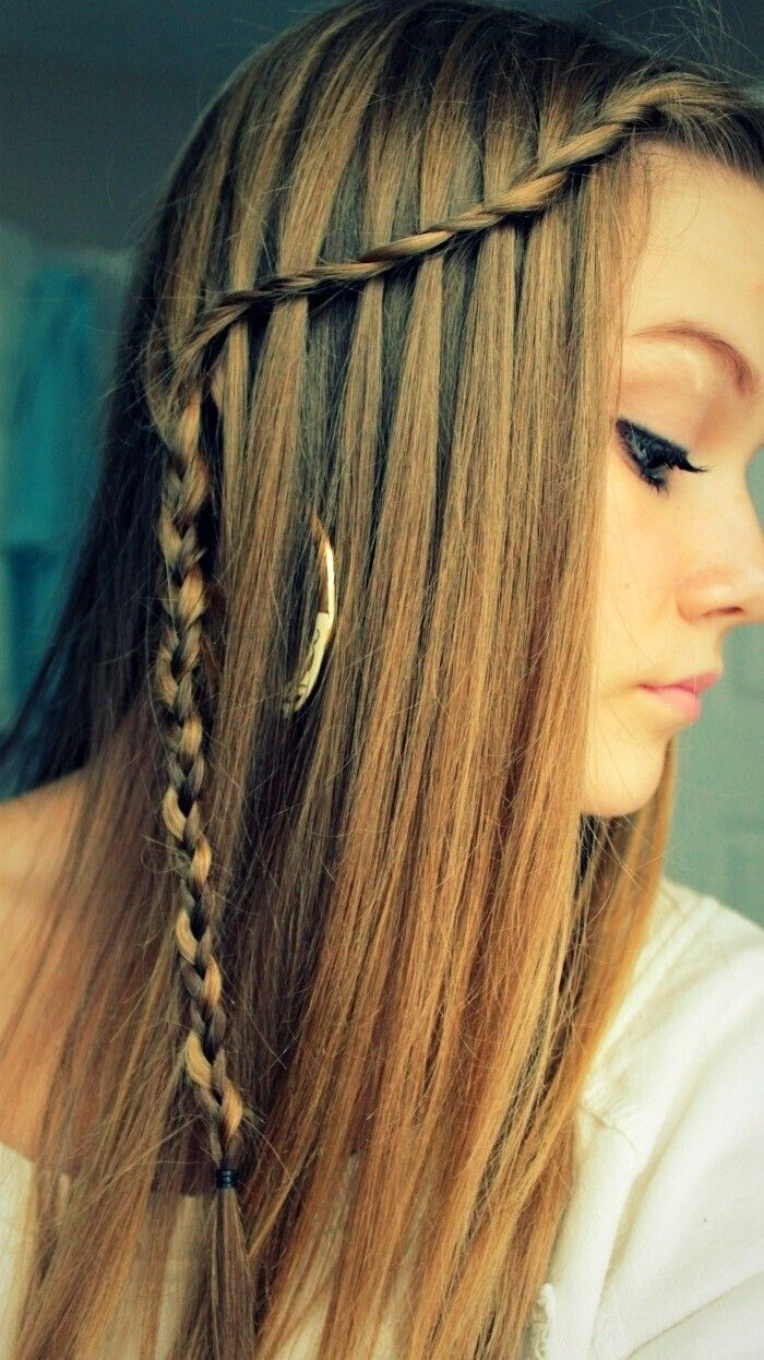 Waterfall Braid Hair Style Ideas for Straight Long Hair