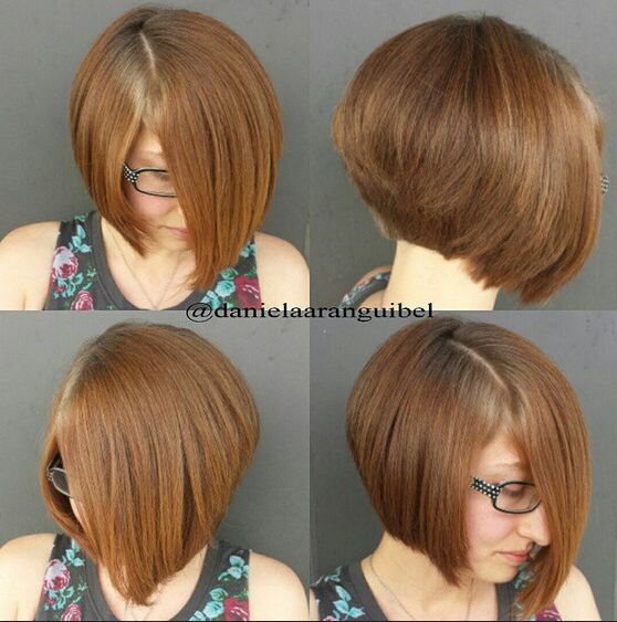 Brown Short Bob Haircut Side, Back View