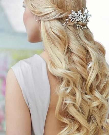 Half-Up Half-Down Wedding Hairstyles with Hair Accessories