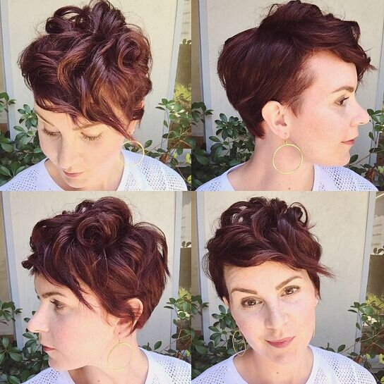 Messy Short Curly Hair Styles with Side Bangs