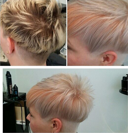 Pretty Hair Color with Pixie Cut